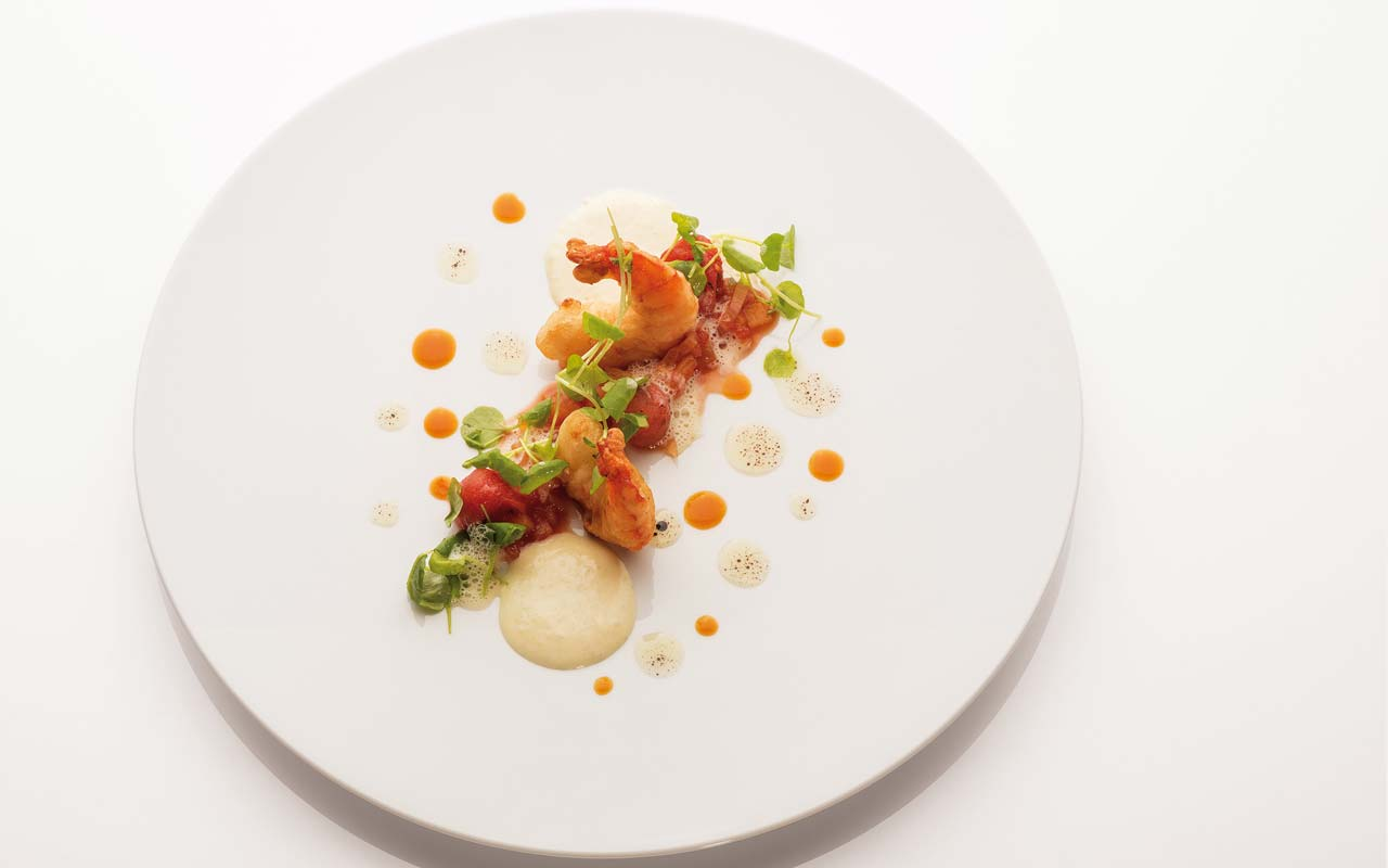 Food Vinothek - Wild prawn with bell pepper and potato-fish cream