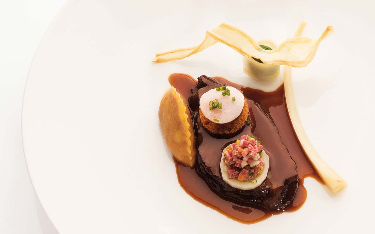 Koenigshof - Ox cheek roasted onions, goose liver ravioli, parsley root